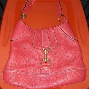 COACH HAMPTONS Coral Pink Pebble Leather Handbag